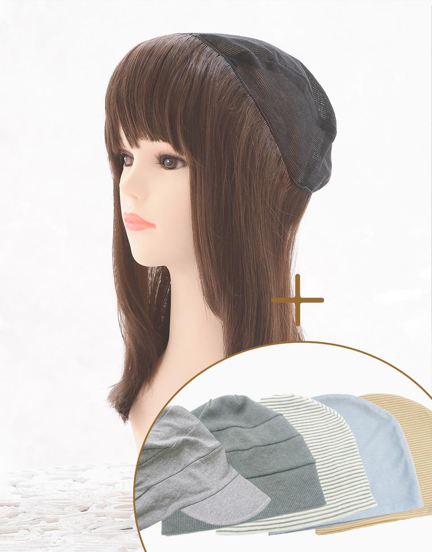 髪付き帽子(帽子ウィッグ)肌優ショート&帽子セット