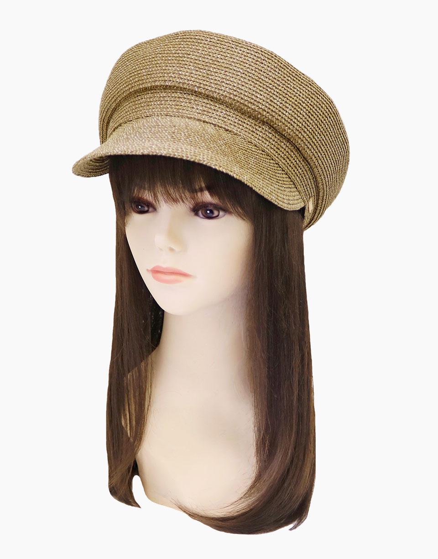 夏のお出かけにおすすめ、洗える和紙素材の帽子 キャスケットブラウン