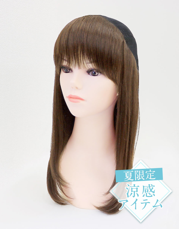髪つき帽子(帽子ウィッグ)肌優ミディアムクール